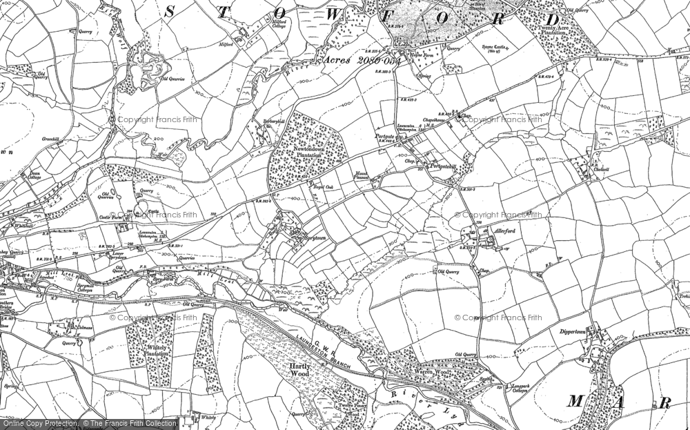 Old Map of Historic Map covering Allerford in 1883