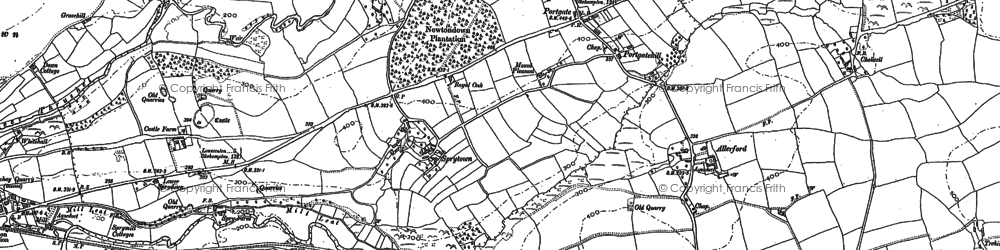 Old map of Allerford in 1883