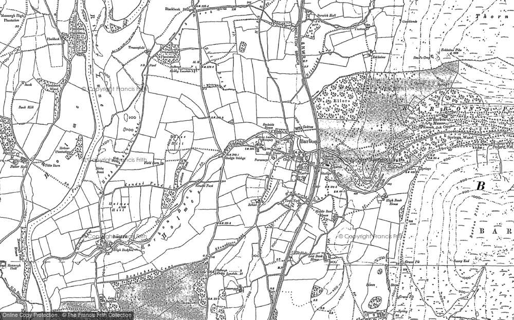 Old Map of Historic Map covering Ashdale Gill in 1896