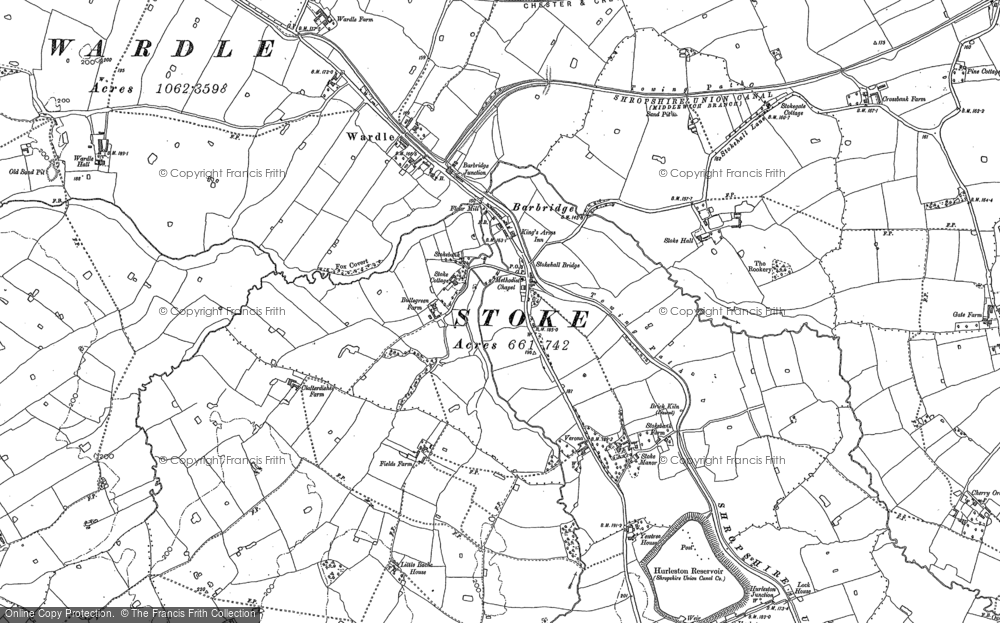 Old Map of Historic Map covering Barbridge Junction in 1897
