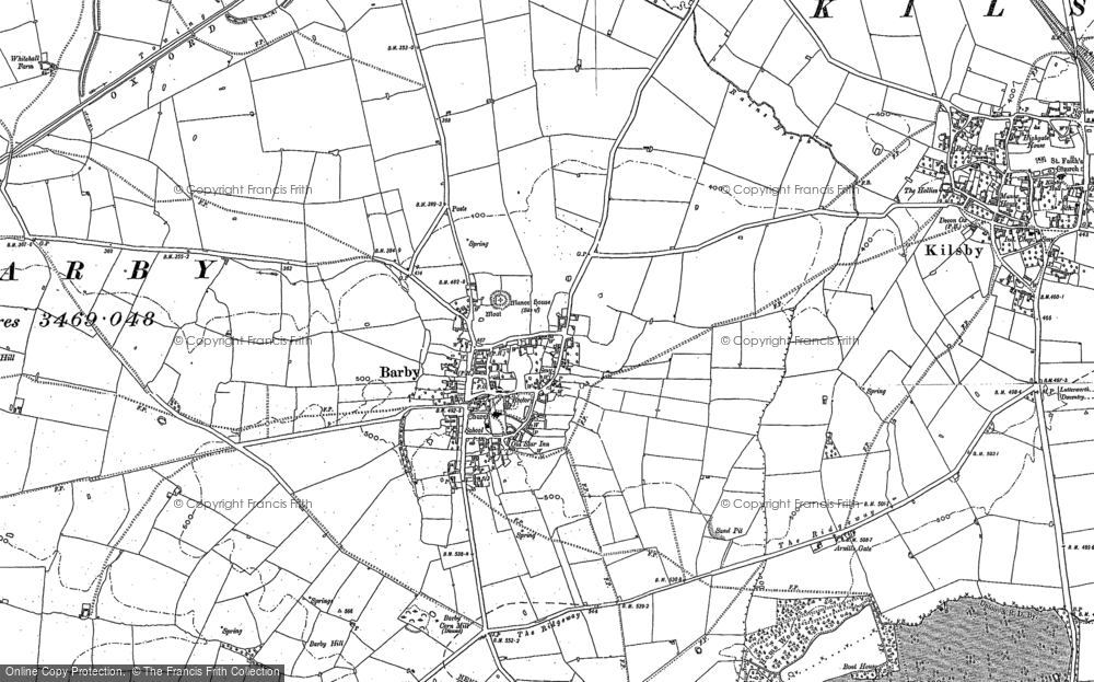 Old Map of Historic Map covering Barby Hill in 1884
