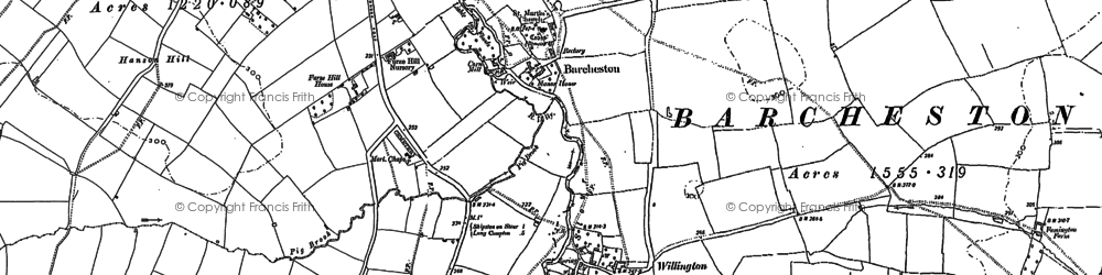 Old map of Barcheston in 1900