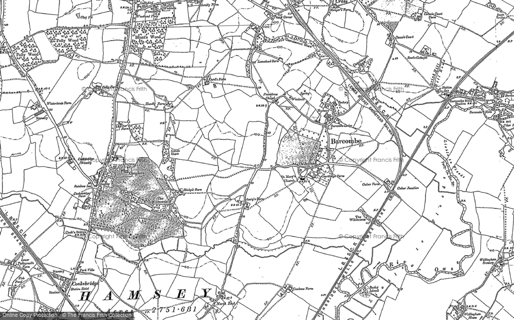 Map of Barcombe, 1897 - 1898