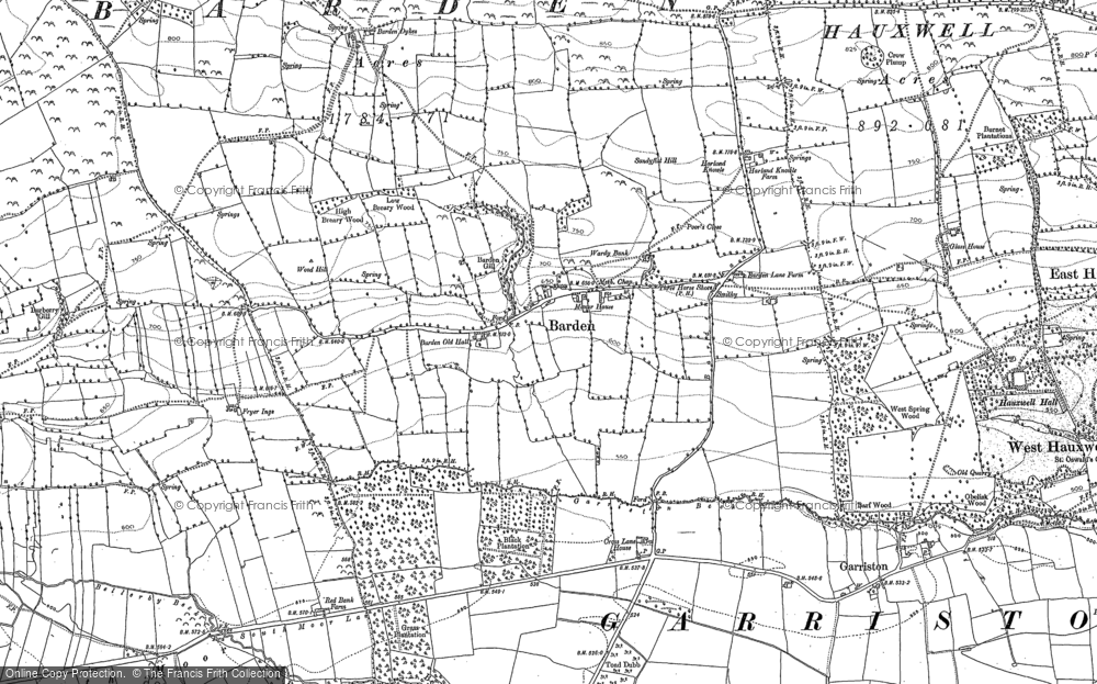 Old Map of Historic Map covering Barden Old Hall in 1891
