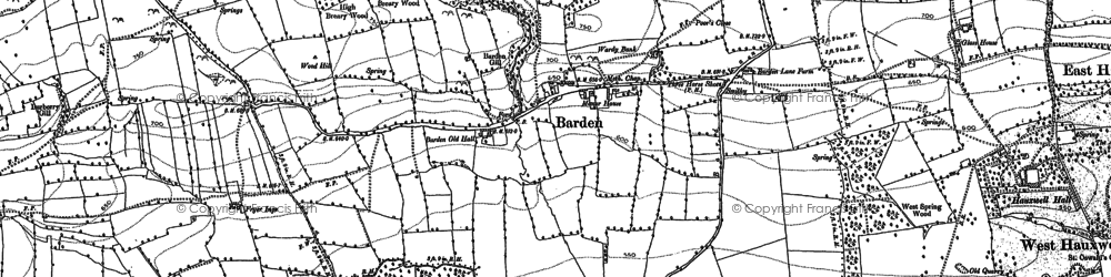 Old map of Barden Old Hall in 1891