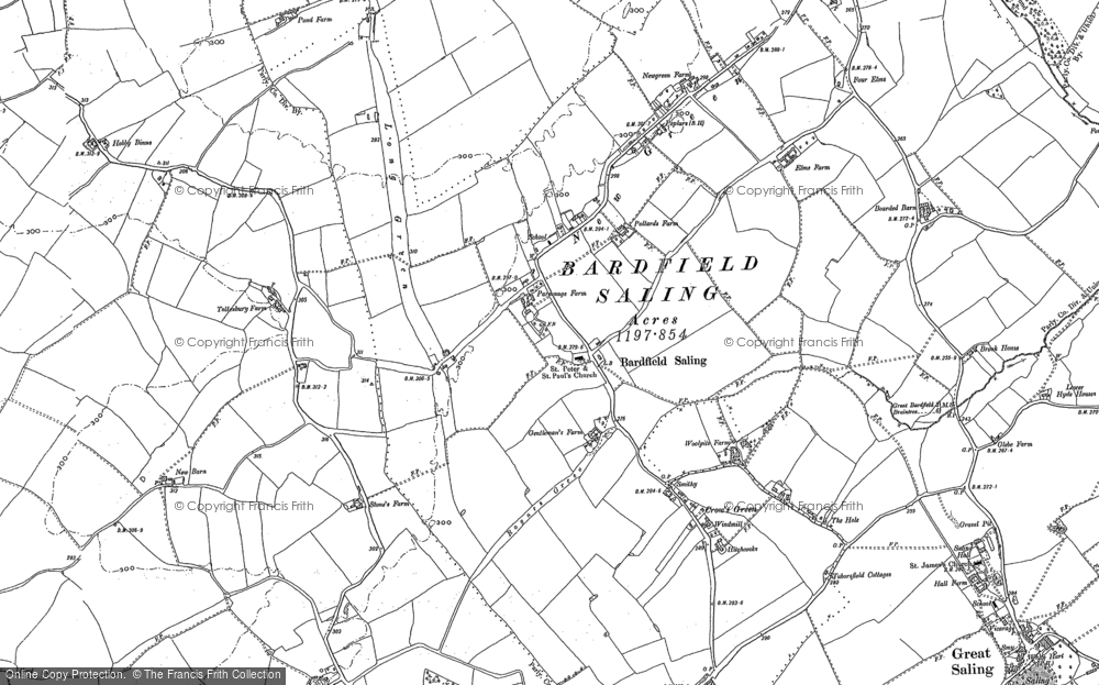 Old Map of Bardfield Saling, 1896 in 1896