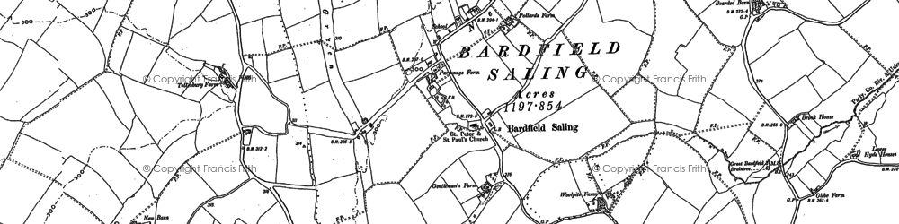 Old map of Bardfield Saling in 1896