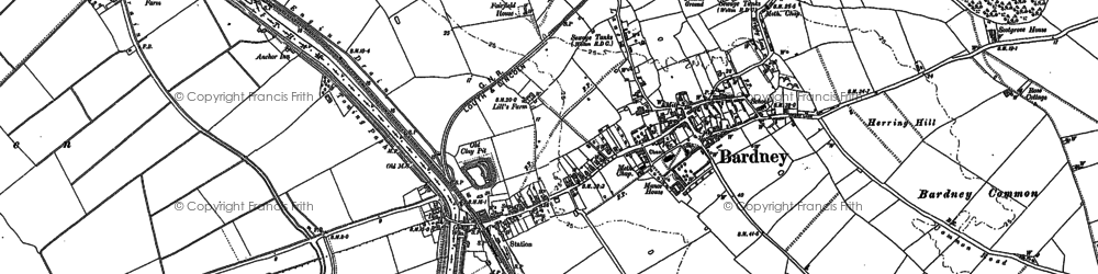 Old map of Bardney in 1886