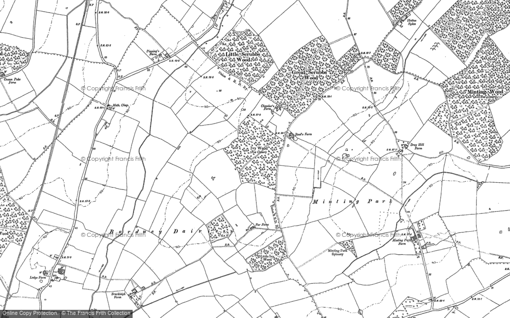 Old Map of Historic Map covering Austacre Wood in 1886