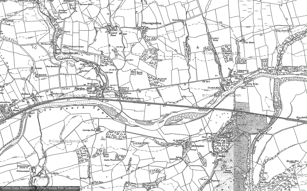 Old Map of Bardon Mill, 1895 in 1895