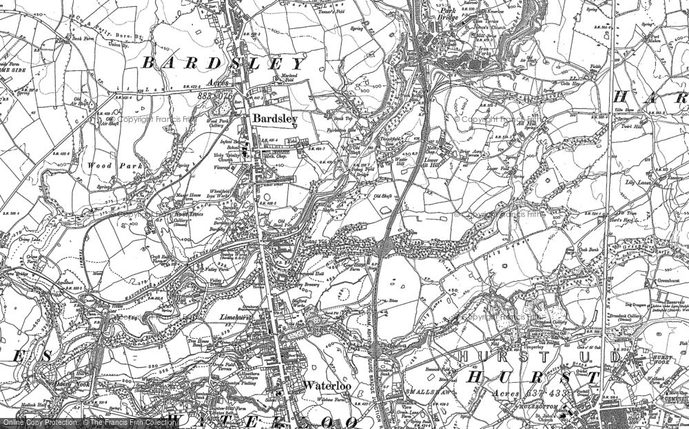 Old Map of Historic Map covering Bardsley House in 1891
