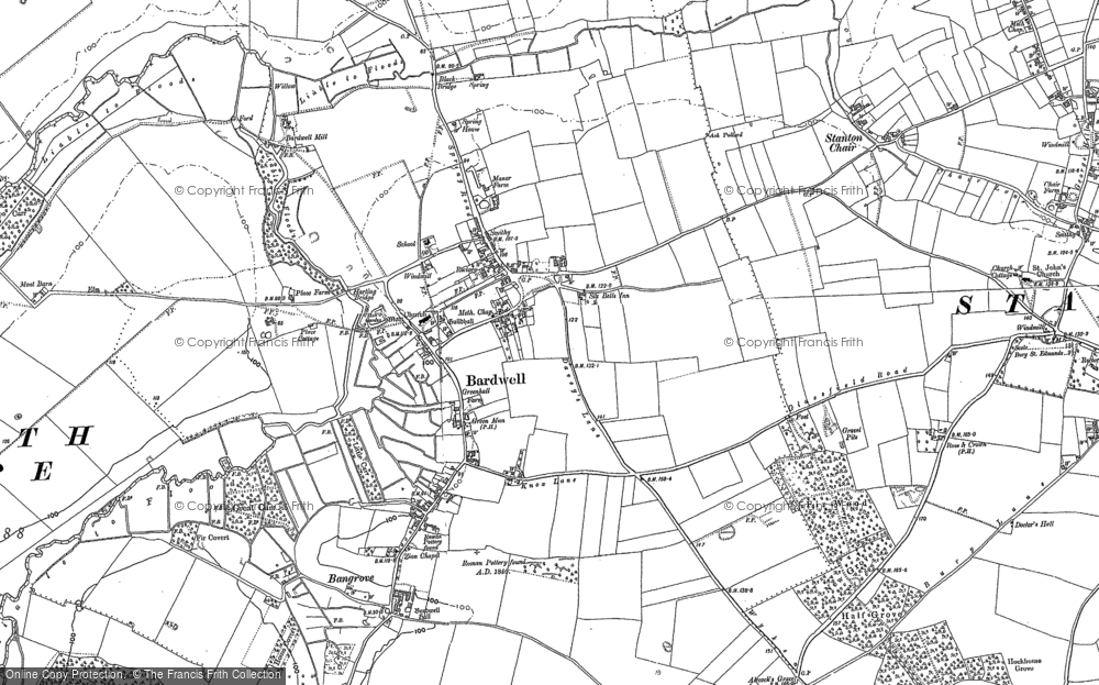 Old Map of Historic Map covering Bardwell Manor in 1882