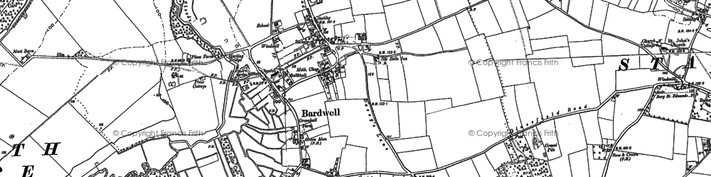 Old map of Bardwell Windmill in 1882