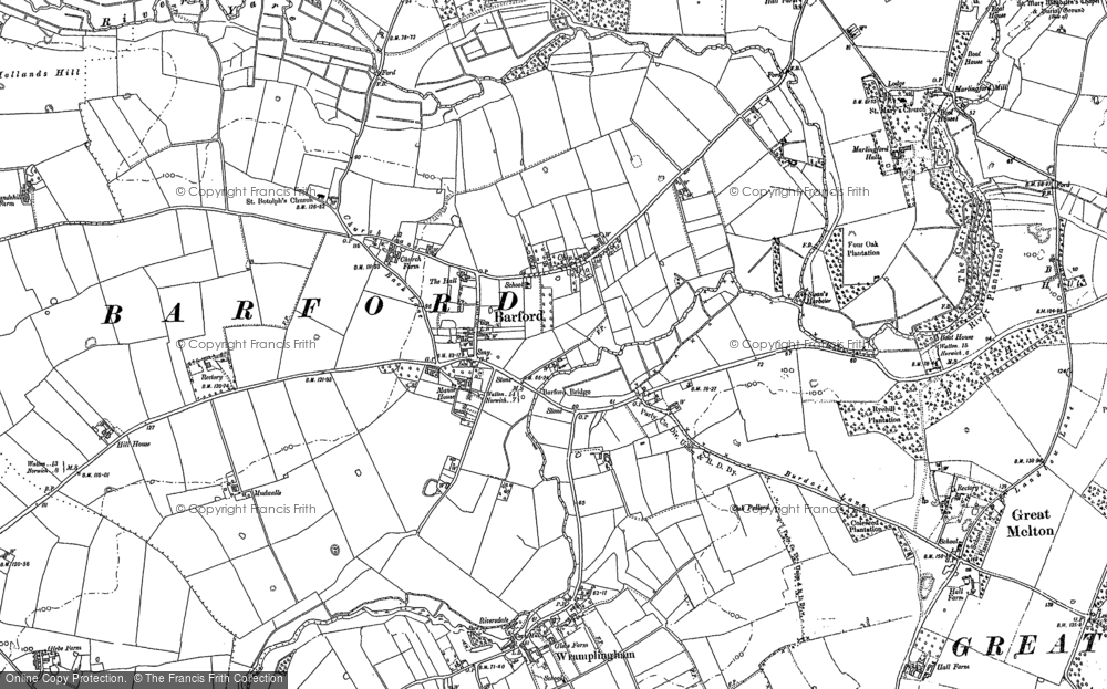 Old Map of Barford, 1882 in 1882