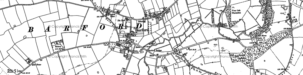 Old map of Barford in 1882