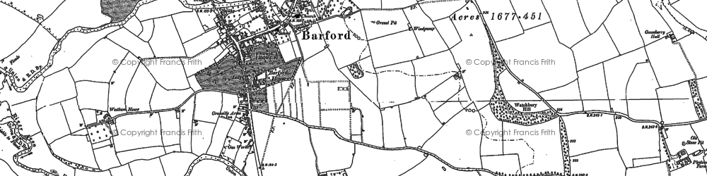 Old map of Barford in 1885
