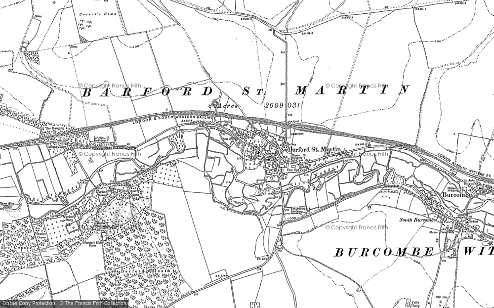 Old Map of Barford St Martin, 1899 - 1900 in 1899