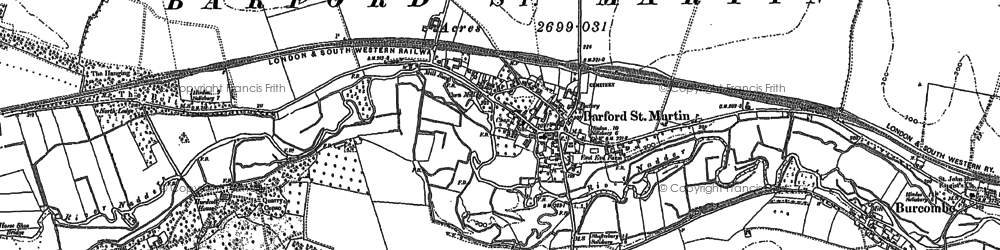 Old map of Barford St Martin in 1899