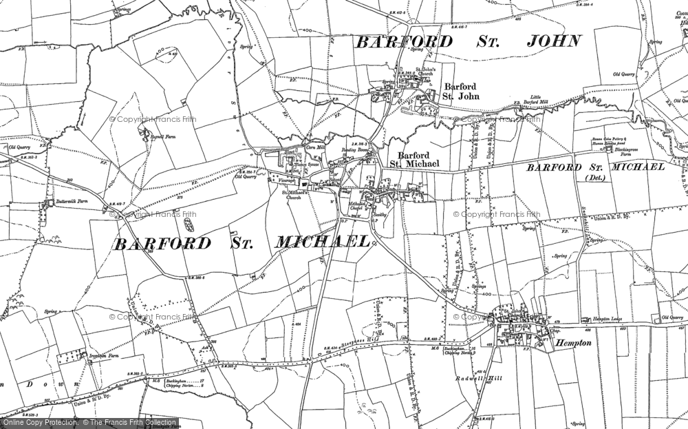 Old Map of Barford St Michael, 1898 in 1898