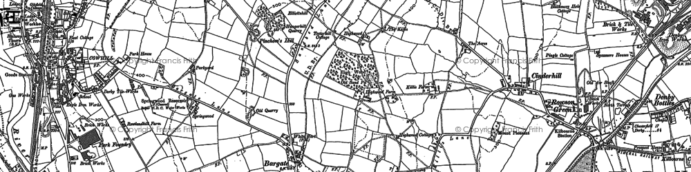 Old map of Bargate in 1880