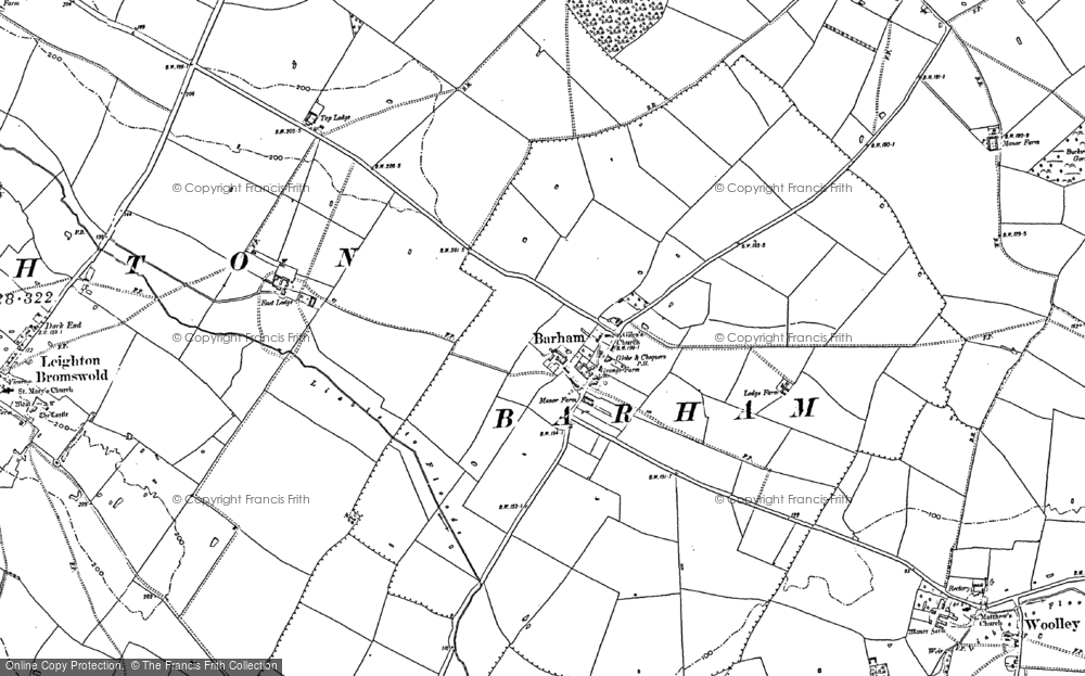 Old Map of Barham, 1887 - 1900 in 1887