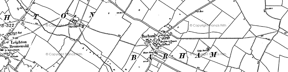 Old map of Barham in 1887