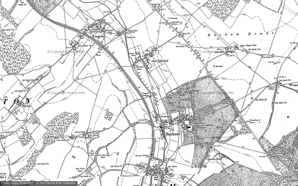Old Map of Barham, 1896 in 1896