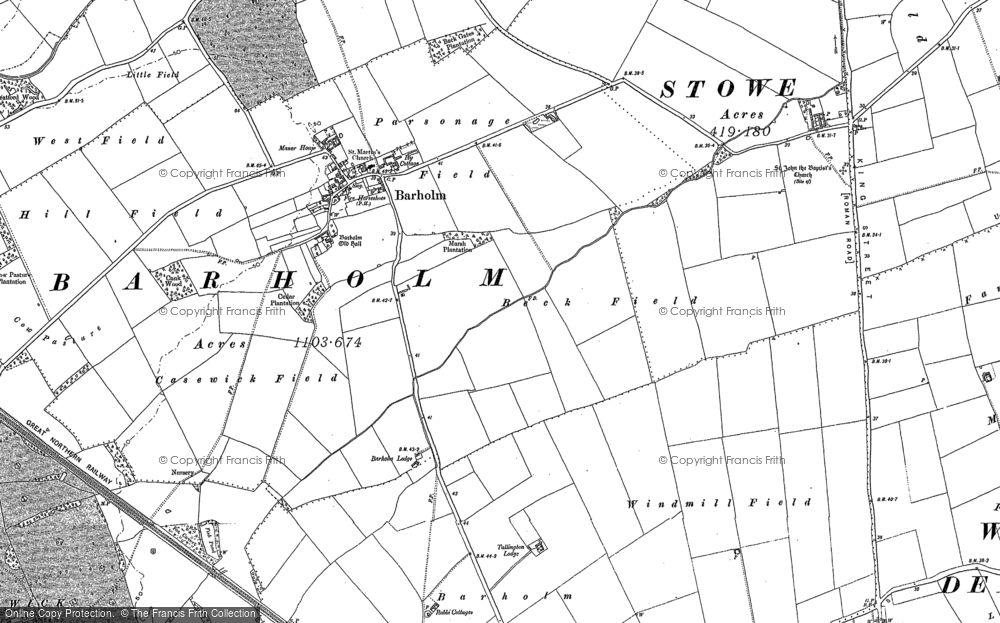 Old Map of Barholm, 1886 - 1903 in 1886