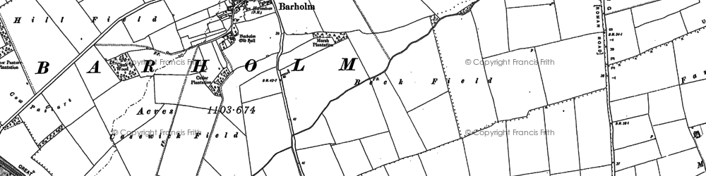 Old map of Barholm in 1886