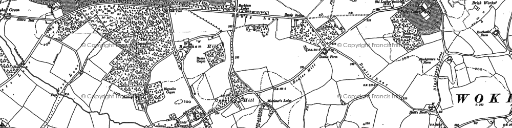 Old map of Barkham Square in 1910