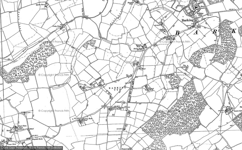 Old Map of Barking Tye, 1884 in 1884