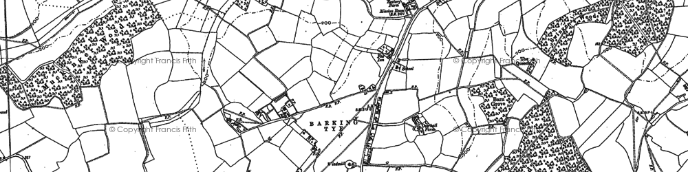 Old map of Barking Tye in 1884