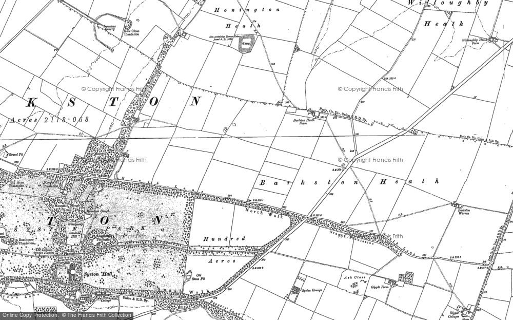 Old Map of Barkston Heath, 1887 in 1887