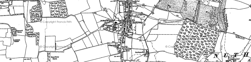 Old map of Barkway in 1896