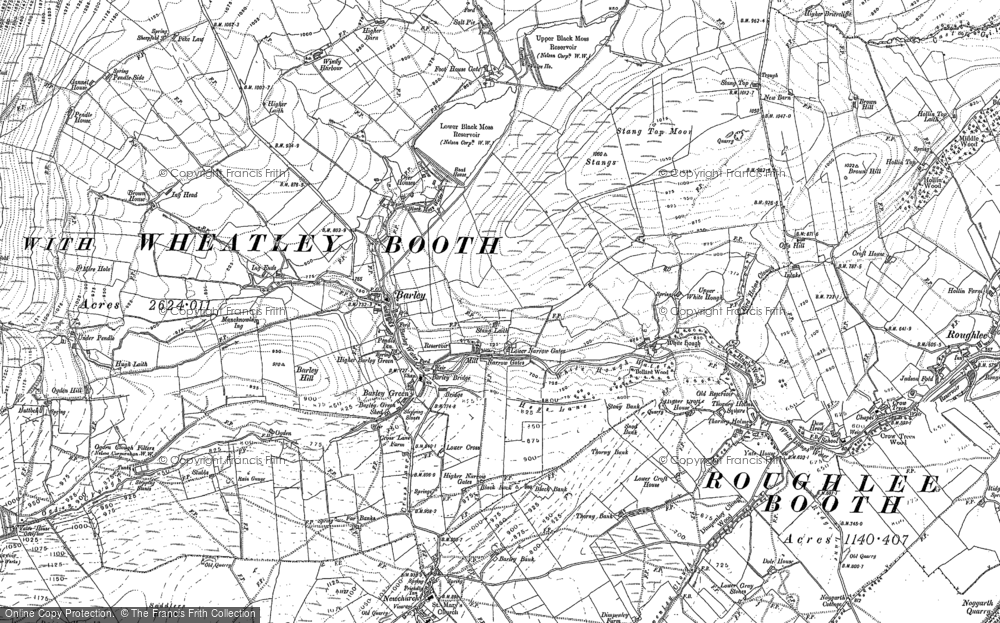 Old Map of Historic Map covering Aitken Wood in 1891