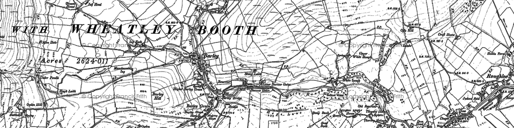 Old map of Barley in 1891