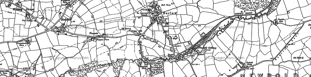 Old map of Barlow in 1876