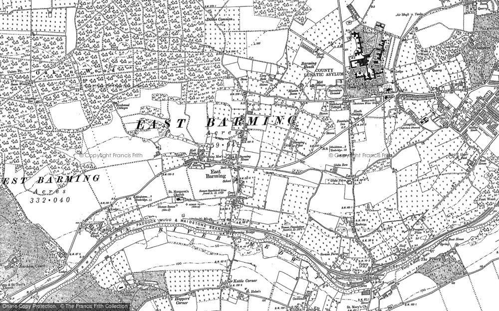 Old Map of Barming, 1895 - 1896 in 1895