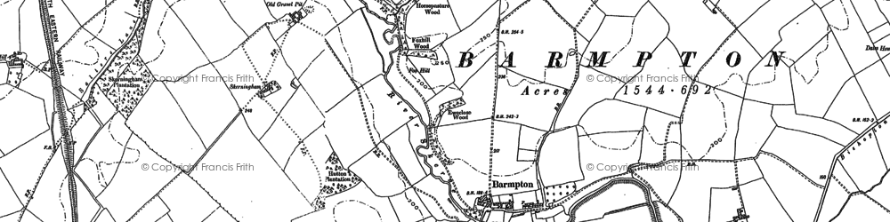 Old map of Whinfield in 1896