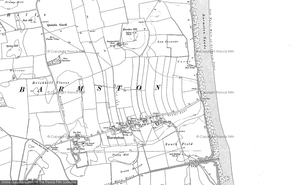 Old Map of Barmston, 1909 in 1909