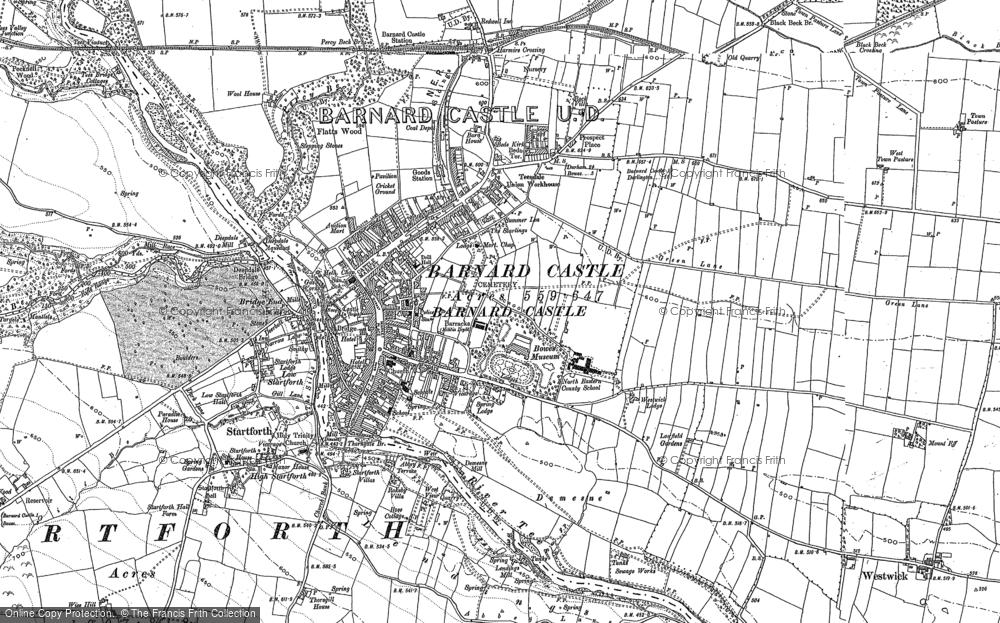 Old Map of Barnard Castle, 1896 in 1896