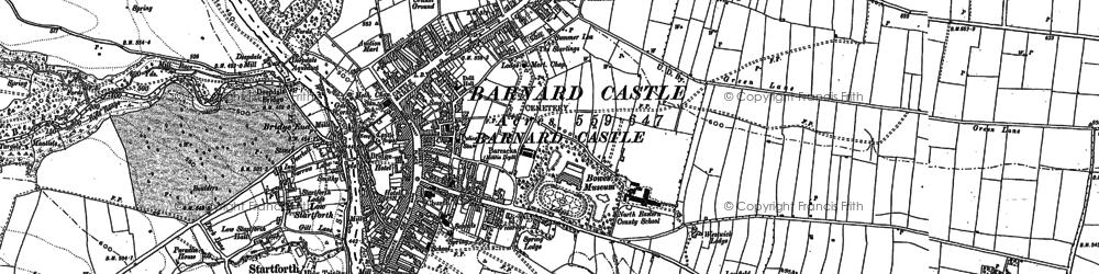 Old map of Barnard Castle in 1896