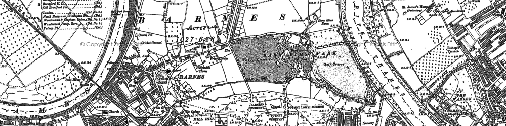 Old map of Barnes in 1893