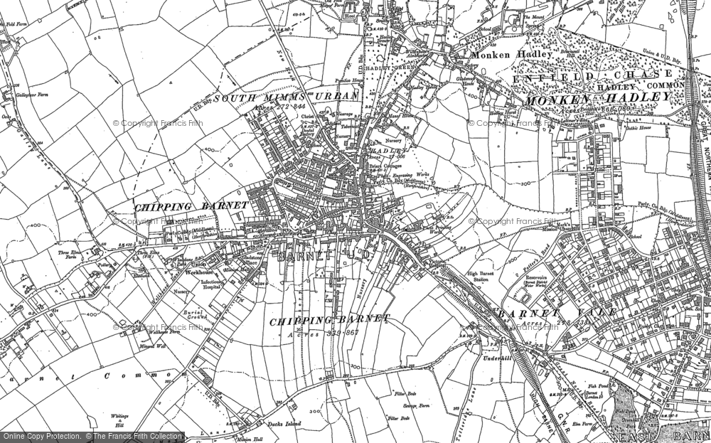 Old Map of Barnet, 1913 in 1913