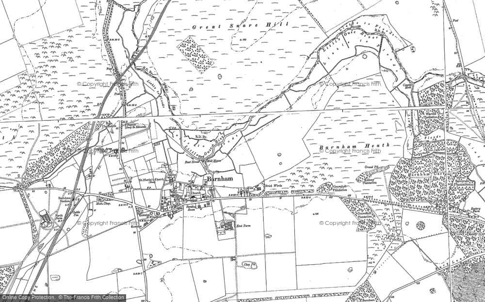 Old Map of Historic Map covering Aughton Spinney in 1882
