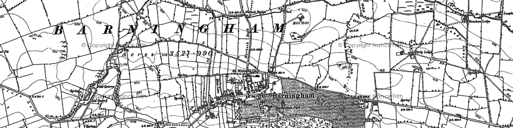 Old map of Barningham in 1854