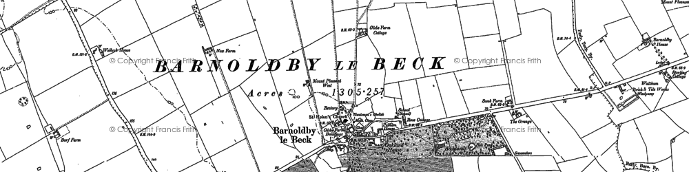 Old map of Barnoldby le Beck in 1887