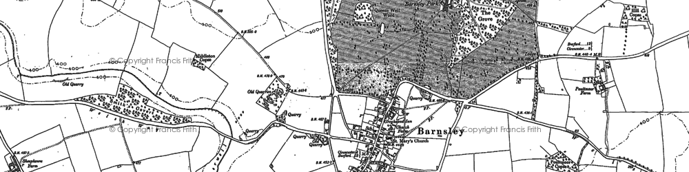 Old map of Barnsley in 1875