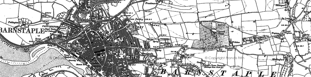 Old map of Barnstaple in 1885