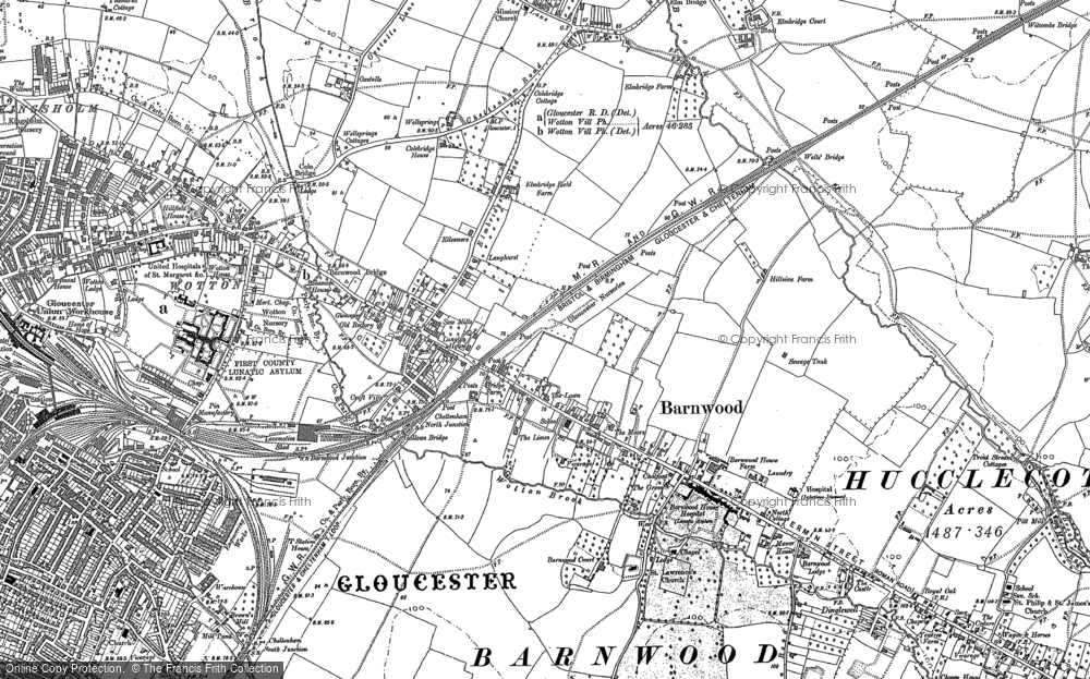Old Map of Barnwood, 1883 - 1884 in 1883
